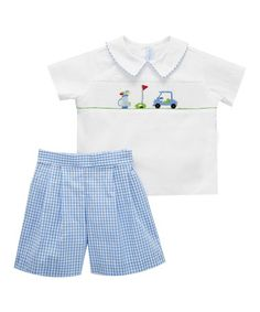 Loving this Blue Golf Smocked Tee & Shorts - Infant, Toddler & Boys on #zulily! #zulilyfinds