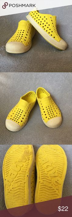 Native Jefferson Shoes Sunny bright yellow native shoes in size c10. In GUC. My kids LIVE in this brand, perfect for the beach, the pool, riding bikes, EVERYTHING! Easy to get on and off but stay on while running around. The heels are a little worn but still lots of life left in these. They are super easy to clean and are perfect for spring and summer. Can be worn with or without socks. Smoke free and pet free home. Native Shoes Shoes