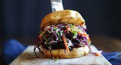 Shiitake Pork Burger with Banh Mi Slaw on Brioche Bun