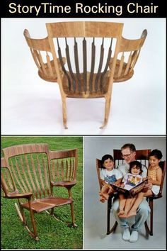 Now everybody can get comfortable while you all enjoy story-telling time! Handmade Furniture, Cheap Furniture, Furniture Making, Furniture Design, Wooden Furniture, Furniture Ideas, Leather Recliner Chair, Woodworking Joints, Woodworking Plans
