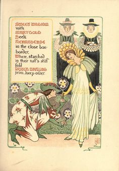 Walter Crane -A floral fantasy in an old English garden Fairy Photography, Rose Garden Design, Walter Crane, Cicely Mary Barker, Vintage Fairies, Flower Fairies, Japanese Prints, Arts And Crafts Movement, Old English