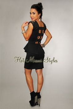 $42.99 Black Silver Spikes Shoulders Peplum Dress