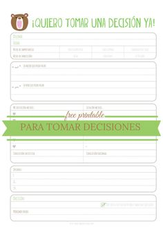 Tomar decisiones de una forma más fácil + printable | The Braveliving