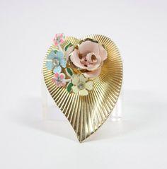 Coro Heart Pin / Flower Brooch with Enamel flowers by VintageHand