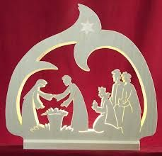 Schwibbogen LED-Leuchter Krippe - cm Beautiful candle arch / candle arch - LED candlestick crib - by Michael Müller: Original fretwork from the Erzgebirge German Christmas Decorations, Christmas Nativity Scene, Christmas Makes, Christmas Wood, Xmas Decorations, Christmas Projects, Christmas Time, Christmas Ornaments, Wood Crafts