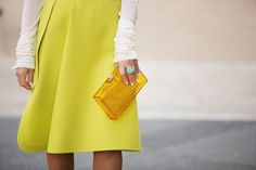 This lucite clutch might be our new It bag. Photos by Mark Iantosca