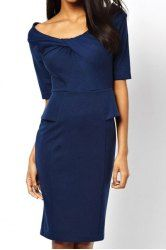 Ladylike Scoop Neck 1/2 Sleeve Solid Color Bodycon Low Cut Women's Dress