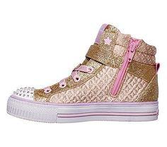 Skechers Kids' Twinkle Toes Twinkle Charm Sneaker Pre/Grade School Shoes (Gold/Pink)