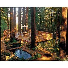 Get Your Dream Deck, Backyard landscaping patio Get Your Dream Deck, Outdoor Rooms, Outdoor Gardens, Outdoor Living, Outdoor Decor, Backyard Retreat, Backyard Landscaping, Wooded Backyard Landscape, Sloped Backyard, Rustic Backyard
