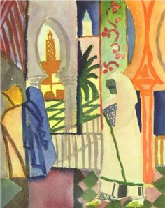 In the Temple Hall - August Macke, Start Date: c.1910. Completion Date:c.1914. Style: Fauvism. watercolor