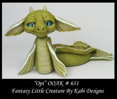 Fantasy Little Baby SeaDragon DollHouse Art Doll Polymer Clay OOAK IADR Opi Mini #KabiDesigns