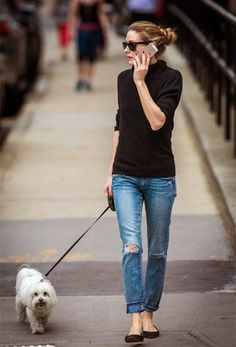Olivia Palermo street style 2014; Parisian Chic- boyfriend jeans and classic black turtleneck.