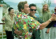 Arnold Schwarzenegger and Sylvester Stallone in Cannes, 1990.