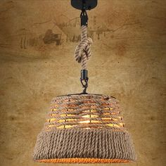 Rustic Nautical Rope Woven Drum Shaded Pendant Light with Single Light - Pendant…