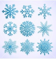 Set of paper snowflakes vector drawing by Sergei_M