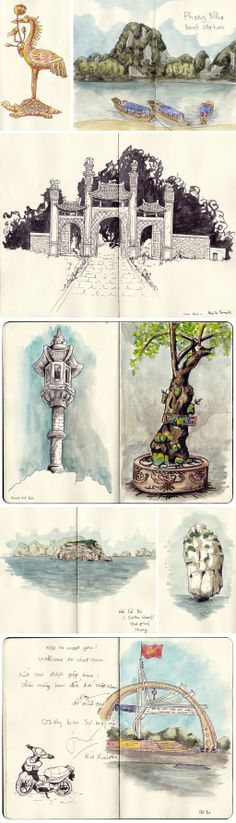 sketches of Ninh Bin and Cat Ba island, Vietnam, by Faustine Clavert. Halong bay, village, islands. #sketches #vietnam #catBa #ninhBin #watercolor #iltawo #urbansketcher