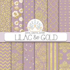 Purple digital paper: LILAC & GOLD with by royaldigitalstore #purple #lilac #gold #pattern #digital #background #paper #scrapbook #download #damask