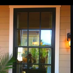 Love the black exterior windows. Will be giving this look a go in time for fall! Black Windows Exterior, Black Exterior, Exterior Colors, Living Room Windows, House Windows, Windows And Doors, Front Doors, Black French Doors, French Windows