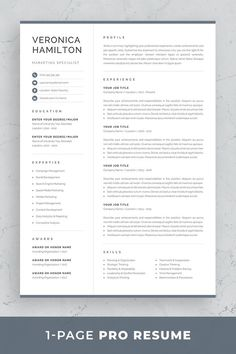 Resume template Veronica is the perfect choice for creating a professional job application. Includes resume, cover letter and references templates in matching designs for a consistent presentation…More One Page Resume Template, Modern Resume Template, Resume Template Free, Creative Resume Templates, Creative Cv, Templates Free, Free Resume, Cover Letter For Resume, Cover Letter Template