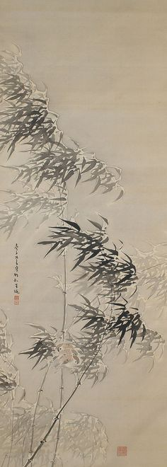 Sparrows in Bamboo, Himejima Chikugai (1840-1928). Japanese scroll painting.
