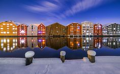 Trondheim Brygga wooden houses in the winter by Aziz Nasuti #xemtvhay