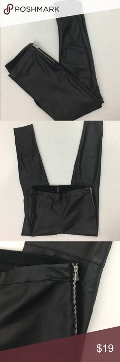 """H&M Faux Leather Jeggings Pants side Zip Black 8 H&M Faux Leather Jeggings --  Side Zip --Black -- Size 8 - Great condition. Wore these once -- 9"""" rise -- 29.5 inseam -- 9"""" leg opening H&M Pants"""