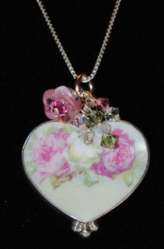 Broken China Jewelry Sterling and Broken China Charms, Pendants, Earrings and Brooches