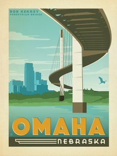 Omaha, Nebraska - Anderson Design Group has created an award-winning series of classic travel posters that celebrates the history and charm of America's greatest cities and national parks. This print features a stylish riverfront view of Omaha, Nebraska. Printed on heavy gallery-grade matte finished paper, this print will look great on any home or office wall.