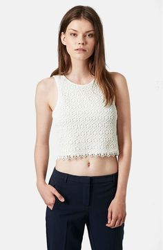 Free shipping and returns on Topshop Crochet Crop Shell at Nordstrom.com. Dainty flowers bloom across a summery crocheted shell styled with a jersey back.