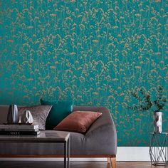 Grace by Graham & Brown - Teal - Wallpaper : Wallpaper Direct Feature Wall Bedroom, Accent Walls In Living Room, Accent Wall Bedroom, Living Room Green, Bedroom Green, Teal Wallpaper Living Room, Teal Feature Wallpaper, Living Room Wallpaper Accent Wall, Wallpaper Lounge