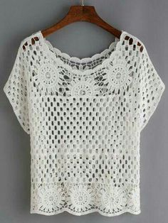 """""""Shop Hollow Out Crochet Top - White online. SheIn offers Hollow Out Crochet Top - White & more to fit your fashionable needs."""", """"We are a crochet sto Pull Crochet, Crochet Shirt, Crochet Cardigan, Crochet Tops, Hat Crochet, White Crochet Top, Free Crochet, Crochet Baby Blanket Sizes, Crochet Baby Hat Patterns"""