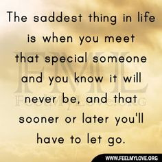 The saddest thing in life is when you meet that special someone and you know it will never be, and that sooner or later you'll have to let go. ~ Unknown