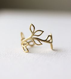 Delicate Leaf Branch ring - Silver OR Gold, Everyday jewelry, Leaf Ring, Vine Ring,Adjustable Ring,Gift for Her,Gift Under 20. $17.50, via Etsy.