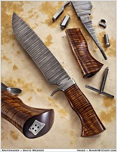 "Kelsey Creek Knives (David Wesner), South Haven, MI USA - ""take-down"" Bowie Knife Cool Knives, Knives And Tools, Knives And Swords, Damascus Knife, Swords And Daggers, Knife Handles, Handmade Knives, Custom Knives, Survival Knife"
