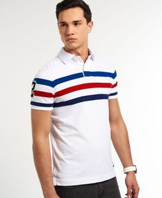 Mens - Beach Park Polo in Optic White Mix | Superdry