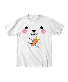 Look at this #zulilyfind! White Bunny Face Tee - Toddler & Girls #zulilyfinds