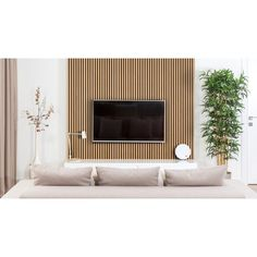 The perfect acoustic panel solution for efficient sound absorption, as well as lowering the reverberation time of noise in your space. Tv Feature Wall, Feature Wall Living Room, High Ceiling Living Room, Living Room Modern, Home Living Room, Wood Slat Wall, Wood Paneling, Modern Wall Paneling, Modern Tv Wall