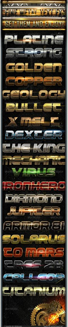 Fine Metal Text FX 2  #GraphicRiver         Fine metal text fx pack 2  	 >>>20 Metal Photoshop Styles to add a shiny blury metal look to your texts  	 >>>The styles work individually, with just one layer. So all you have to do is apply the styles that you want on your texts, logos or vector shapes.  	 Hope you like it .  Check the pack 1 graphicriver /item/fine-metal-text-fx/3010326 About the Author My name is ZAKI , 20 years old graphic designers , who dedicated himself to learn all the…