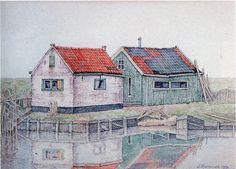 Vissershuisjes bij Koudum waterverf 21 x 28 door Jopie Huisman 1991
