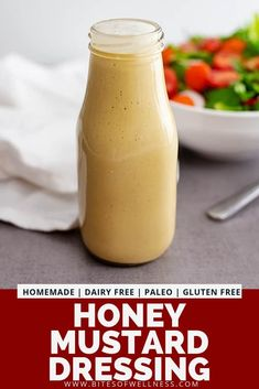 Honey mustard dressing recipe is a healthy homemade dressing that is so easy to make and only has 5 ingredients. This slightly sweet, tangy dressing is better than store-bought and takes less than 2 m Honey Mustard Salad Dressing, Honey Mustard Dip, Honey Mustard Recipes, Homemade Honey Mustard, Gluten Free Salad Dressing, Dairy Free Dressing Recipes, Paleo Dressing, Paleo Honey, Vinaigrette