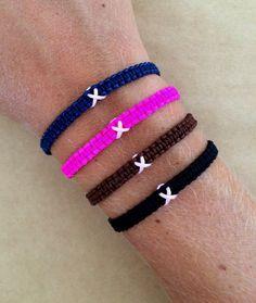 T Cancer Awareness Macrame Bracelet With Pink Ribbon Survivor Hope Strength
