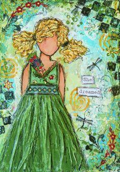 love the green dress! #mixed-media