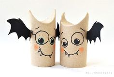 Murciélagos de rollo de papel higiénico en Manualidades infantiles para bebés, niños y niñas
