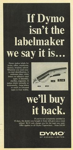 Old DYMO ad Vintage Advertisements, Ads, Dymo Label, How To Make Labels, Large Letters, Good Ol, Advertising, Sayings, Reading