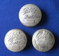 """Gibbs Dentifrice"" vintage round toothpaste tins x 3, with original contents (c.1940s) (SOLD Oct. 2007, Apr. 2008) - www.vanishederas.com"