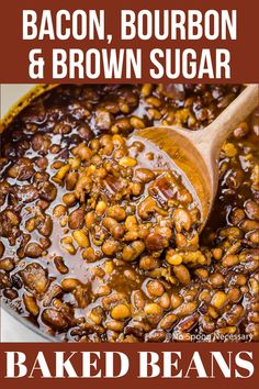 Homemade Bacon Bourbon & Brown Sugar Baked Beans It's easy to make your own baked beans! These southern style Bacon, Bourbon & Brown Sugar Baked Pork And Beans Recipe, Simple Baked Beans Recipe, Baked Beans From Scratch, Canned Baked Beans, Baked Beans Crock Pot, Slow Cooker Baked Beans, Baked Beans With Bacon, Homemade Baked Beans, Baked Bean Recipes