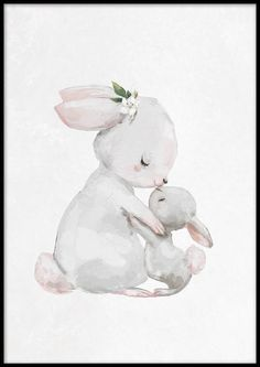 A cute poster of a mom and baby rabbit hugging. Cute Animal Drawings, Animal Sketches, Cute Drawings, Cute Poster, Love Posters, Bunny Painting, Painting & Drawing, Rabbit Art, Bunny Art