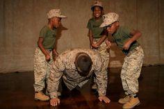 Mini drill instructors.