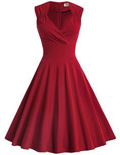 a75fbe3b45dd9 Amazing offer on MUXXN MUXXN Women's 50s 60s Vintage Sexy V-Neck Swing Dress  online