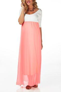 Pink-Chiffon-Colorblock-Maternity-Maxi-Dress #maternity #fashion